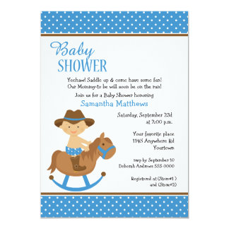 Western Baby on Rocking Horse Baby Shower 13 Cm X 18 Cm Invitation Card