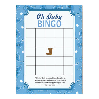 Western Baby Shower Bingo and Word Scramble Games 17 Cm X 22 Cm Invitation Card