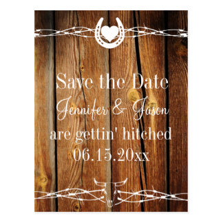 Western Barbed Wire Wood Save the Date Postcards