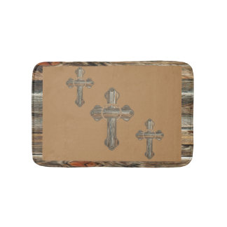 Western Barnwood Cross With Ropes And Conchos Bath Mat