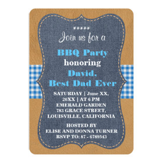 Western BEST DAD EVER Denim BBQ PARTY Custom Card