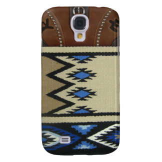 "Western ""Blue Horse Blanket & Leather"" IPhone 3 Galaxy S4 Cover"