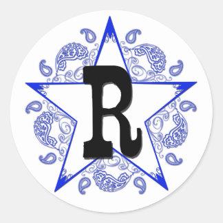 """Western Blue """"R"""" Monogram Sticker"""