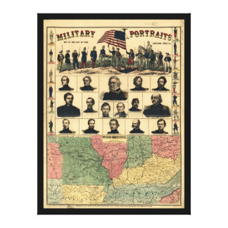 Western Boarder States Military Portraits (1861) Canvas Print