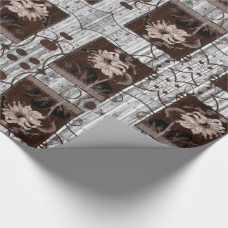 Western Brown Cowgirl with Horse Barn Wood Wrapping Paper