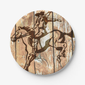 Western bucking bronco wooden cowboy paper plates