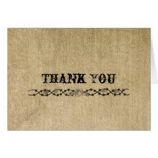 Western Burlap Thank You card