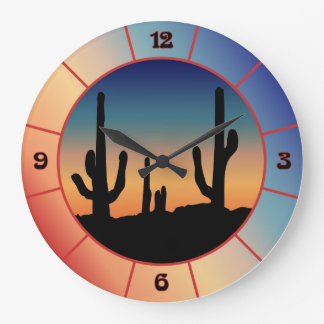Western Cactus Sunset Silhouette Clock