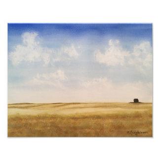 Western Canada Prairies - WATERCOLOR Photo Print