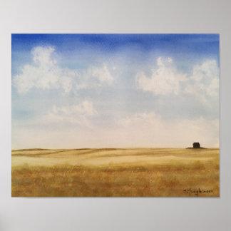Western Canada Prairies- WATERCOLOR Poster