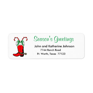 Western Christmas Cowboy Boot Season's Greetings Return Address Label