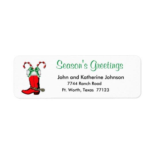 Western Christmas Cowboy Boot Season's Greetings Return Address Label