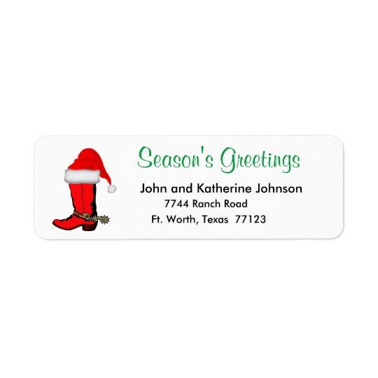Western Christmas Cowboy Boot With Santa Hat Return Address Label