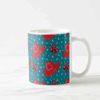 Western Christmas Cowboy Hats And Candy Canes Coffee Mug