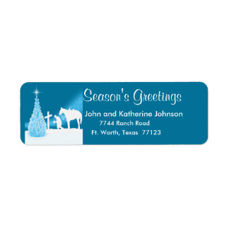 Western Christmas Cowboy Praying Return Address Return Address Label