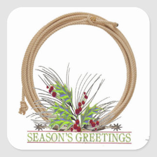 Western Christmas Cowboy Rope Wreath Stickers