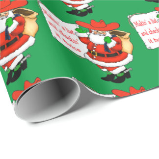 Western Christmas Cowboy Santa Makin' A List Wrapping Paper