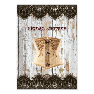 Western country corset steampunk bridal shower card
