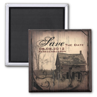 western country farm barn wedding save the date square magnet