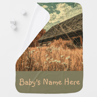western country field wildflower farm Old Barn Baby Blanket