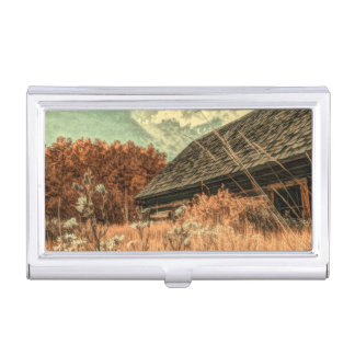 western country field wildflower farm Old Barn Business Card Holder