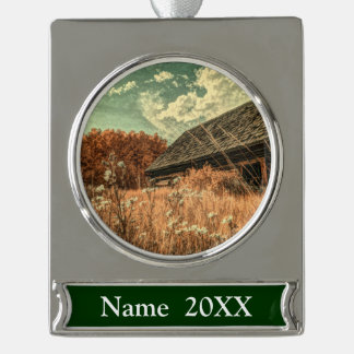 western country field wildflower farm Old Barn Silver Plated Banner Ornament