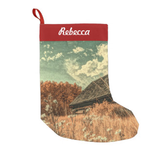 western country field wildflower farm Old Barn Small Christmas Stocking