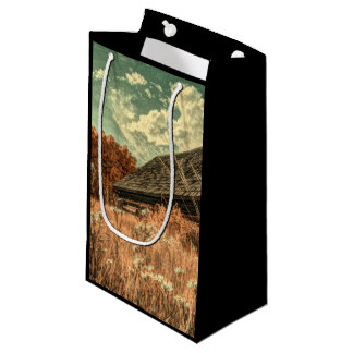 western country field wildflower farm Old Barn Small Gift Bag