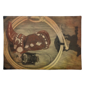 Western Country Rodeo cowboy boot Lasso Rope Placemat