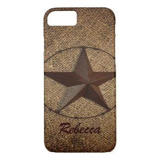 Western Country Rustic Burlap Primitive Texas Star iPhone 8/7 Case