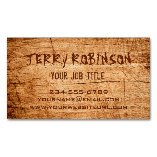 Western Country Rustic Scratched Wood Grain Magnetic Business Card