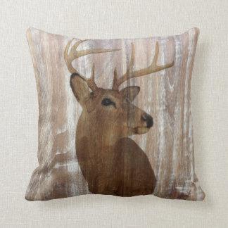 western country rustic wood grain deer head throw pillow