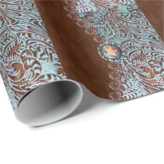 western country turquoise brown tooled leather wrapping paper