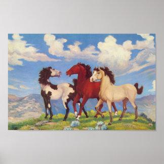 Western Cow Ponies Poster