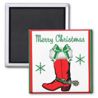 Western Cowboy Boot Stocking With Merry Christmas Magnet