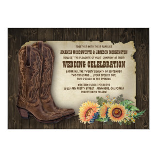 Western Cowboy Boots Sunflower Wedding Invitations