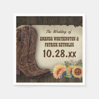 Western Cowboy Boots Sunflower Wedding Napkins Paper Napkin