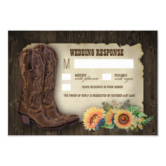 Western Cowboy Boots Sunflower Wedding RSVP Cards 9 Cm X 13 Cm Invitation Card