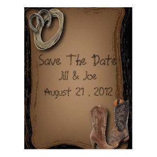 western cowboy boots wedding save the date postcard