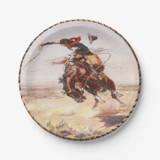 Western Cowboy Bronc Rider Party Plates