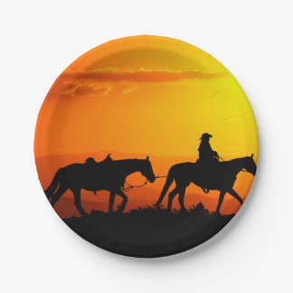 Western cowboy-Cowboy-texas-western-country Paper Plate