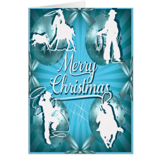 Western Cowboy Cowgirl Roping Christmas Card