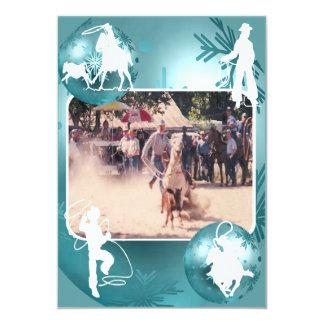 Western Cowboy Cowgirl Roping Holiday Card 2 Sided