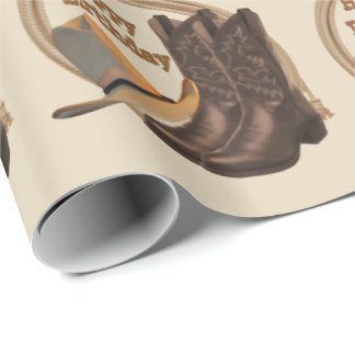 Western Cowboy Hat Boots And Rope Happy Birthday Wrapping Paper