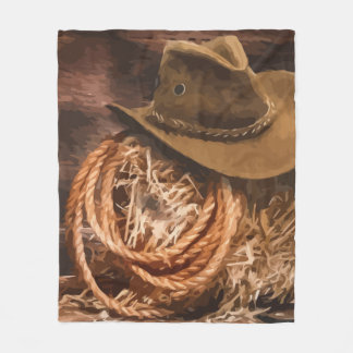 Western Cowboy Hat Lasso Horse Art Fleece Blanket