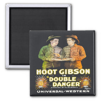 Western Cowboy Hoot Gibson Double Danger Movie Square Magnet