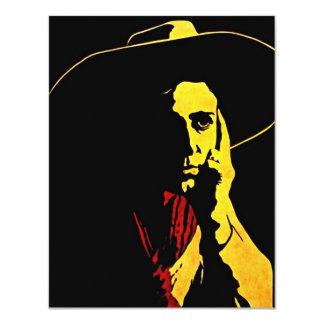 """Western Cowboy In Night Shadows Party Invitation 4.25"""" X 5.5"""" Invitation Card"""