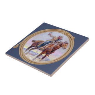 Western Cowboy On Horse And  Holding A Drink Ceramic Tile