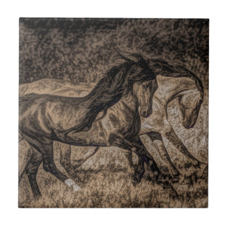 western cowboy rodeo Galloping wild horses Ceramic Tile
