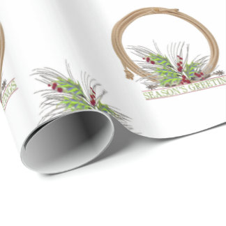 Western Cowboy Rope Christmas Wreath Wrapping Paper